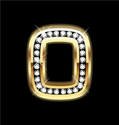 Number zero bling gold and diamonds vector image