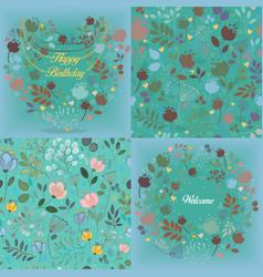 green floral patterns set vector image