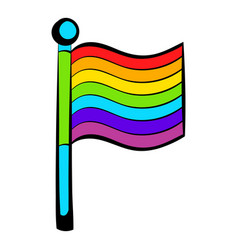 rainbow flag icon icon cartoon vector image
