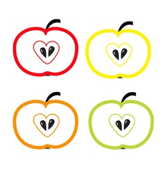 Set of color apples with heart shape Isolated vector image