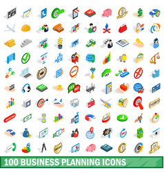 100 business planning icons set isometric style vector image