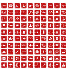 100 sushi bar icons set grunge red vector