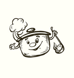 a stylized image of the pan with vector image