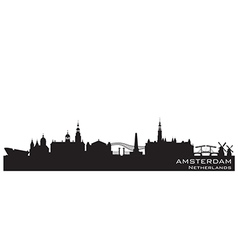 Amsterdam Netherlands skyline Detailed silhouette vector image
