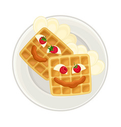 Appetizing breakfast with waffle and berries vector