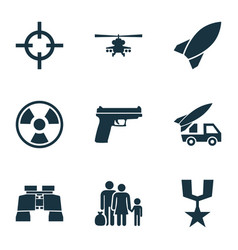 Army icons set collection of ordnance dangerous vector