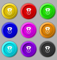 Award medal icon sign symbol on nine round vector