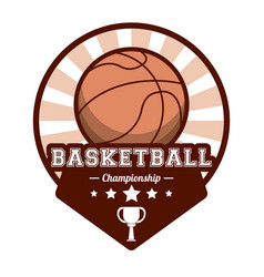 Basketball sport championship stamp image vector