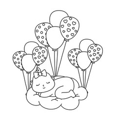 Basleeping over a cloud in black and white vector