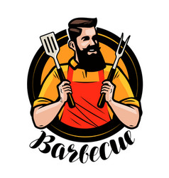 Bbq barbecue logo or label chef or happy cook vector