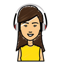beautiful woman with earphones avatar character vector image