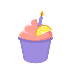 Birthday cupcake with lighted candle and orange vector