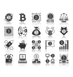 bitcoin black silhouette icons set vector image