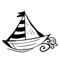 black and white boat on white background vector image