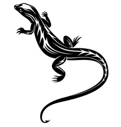 Black fast lizard reptile vector