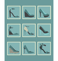 Blue fashionable women high heels shoes icons set vector image