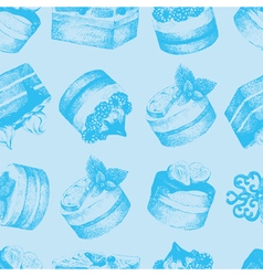 Cakes blue seamless pattern vector