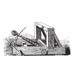 Catapult vintage engraving vector image