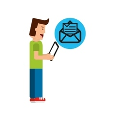 Character boy with tablet email newsletter open vector
