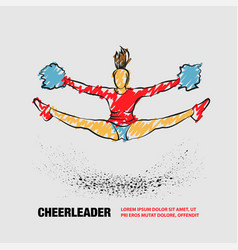 cheerleader jumps and doing splits with pom poms vector image
