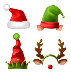 christmas holiday hats santa claus red cute cap vector image