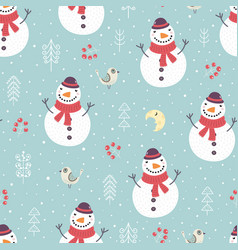 Christmas seamless pattern with cute snowman tree vector