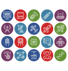 Collection round dotted icons high technology vector