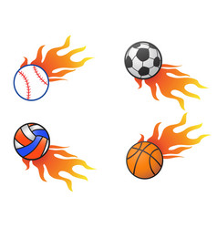 color fire ball logo icons vector image vector image