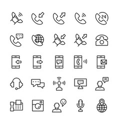 communication and phone icon set in thin line vector image