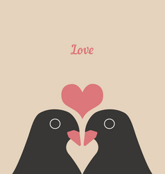 couple cute birds with heart love cartoons vector image
