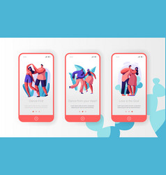 couple dance together mobile app page screen set vector image