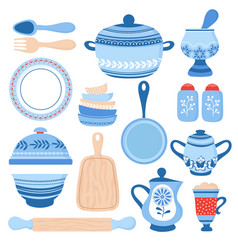 crockery ceramic cookware blue porcelain bowls vector image