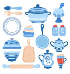 Crockery ceramic cookware blue porcelain bowls vector