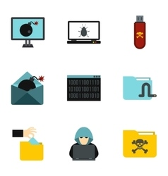Data theft icons set flat style vector