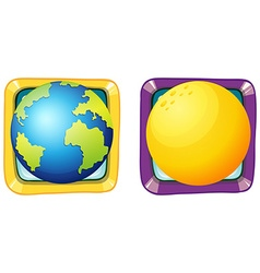 Earth and moon on square badges vector