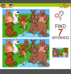 Find differences with bears animal characters vector