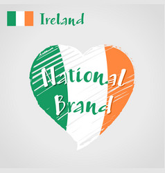 flag heart of ireland national brand vector image