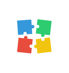 four puzzle teamwork business concept vector image