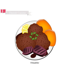 frikadeller or fried beef patty popular dish in d vector image
