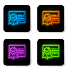 glowing neon certificate template line icon vector image