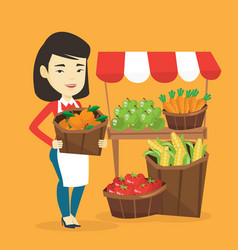 greengrocer with fruits and vegetables vector image vector image