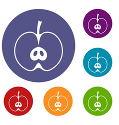 Half apple icons set vector