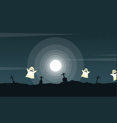 Halloween landscape graveyard with ghost vector