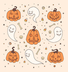 halloween with orange pumpkins ghosts bones vector image