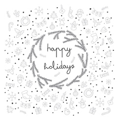 Happy holidays items and sybmol icons card vector