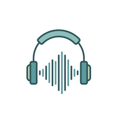 headphones with sound wave colored icon or design vector image