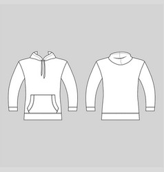 hoodie man template front back views vector image