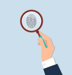 Human hand held magnifying investigate fingerprint vector