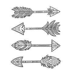 ink native american indian arrows in ethnic style vector image