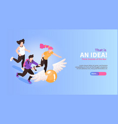 isometric brainstorming horizontal banner vector image